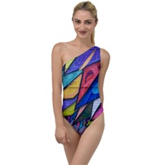Urban Colorful Graffiti Brick Wall Industrial Scale Abstract Pattern To One Side Swimsuit by genx