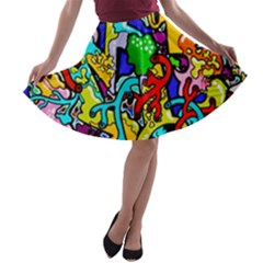 Graffiti Abstract With Colorful Tubes And Biology Artery Theme A Line Skater Skirt