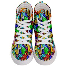 Graffiti Abstract With Colorful Tubes And Biology Artery Theme Women s Hi Top Skate Sneakers