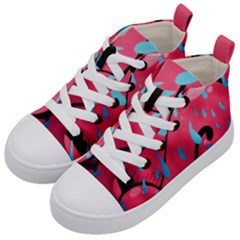 Graffiti Watermelon Pink With Light Blue Drops Retro Kids  Mid Top Canvas Sneakers by snek