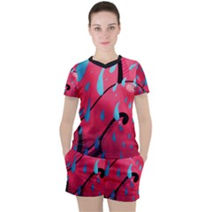 Graffiti Watermelon Pink With Light Blue Drops Retro Women s Tee And Shorts Set