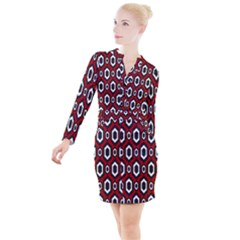 Decorative Pattern Button Long Sleeve Dress