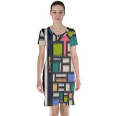 Door Stained Glass Stained Glass Short Sleeve Nightdress