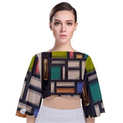 Door Stained Glass Stained Glass Tie Back Butterfly Sleeve Chiffon Top