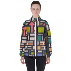 Door Stained Glass Stained Glass High Neck Windbreaker (women)