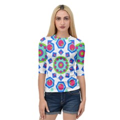 Mandala Geometric Design Pattern Quarter Sleeve Raglan Tee by Pakrebo