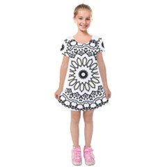 Mandala Kaleidoscope Arts Kids  Short Sleeve Velvet Dress