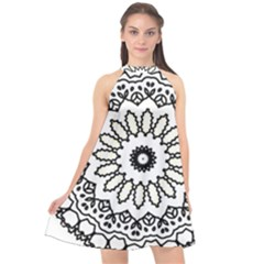 Mandala Kaleidoscope Arts Halter Neckline Chiffon Dress