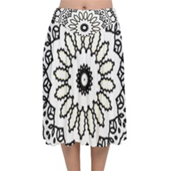 Mandala Kaleidoscope Arts Velvet Flared Midi Skirt