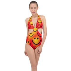 Smile Smiling Face Happy Cute Halter Front Plunge Swimsuit