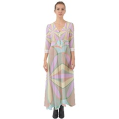 Flower Stained Glass Window Symmetry Button Up Boho Maxi Dress