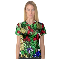 Stained Glass Art Window Church V Neck Sport Mesh Tee by Pakrebo