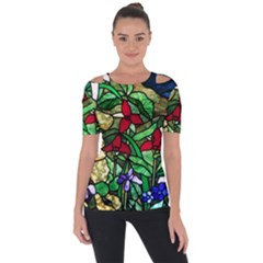 Stained Glass Art Window Church Shoulder Cut Out Short Sleeve Top by Pakrebo