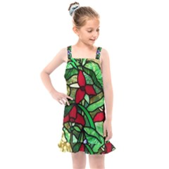 Stained Glass Art Window Church Kids  Overall Dress by Pakrebo