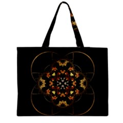 Fractal Stained Glass Ornate Zipper Medium Tote Bag