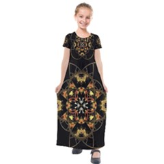 Fractal Stained Glass Ornate Kids  Short Sleeve Maxi Dress by Pakrebo