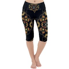 Fractal Stained Glass Ornate Lightweight Velour Cropped Yoga Leggings by Pakrebo