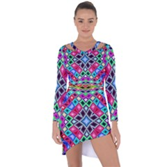 Kaleidoscope Pattern Sacred Geometry Asymmetric Cut Out Shift Dress by Pakrebo