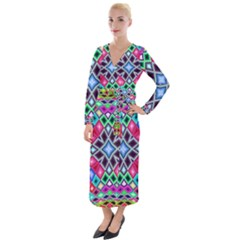 Kaleidoscope Pattern Sacred Geometry Velvet Maxi Wrap Dress by Pakrebo