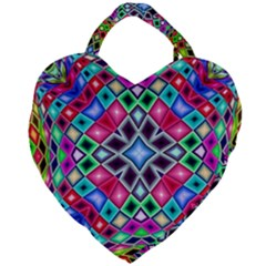 Kaleidoscope Pattern Sacred Geometry Giant Heart Shaped Tote