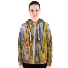 Stained Glass Window Colorful Women s Zipper Hoodie