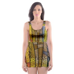 Stained Glass Window Colorful Skater Dress Swimsuit