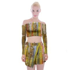 Stained Glass Window Colorful Off Shoulder Top With Mini Skirt Set