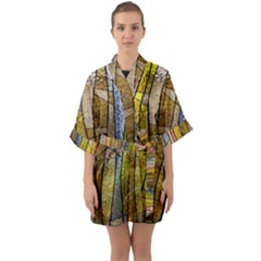 Stained Glass Window Colorful Quarter Sleeve Kimono Robe