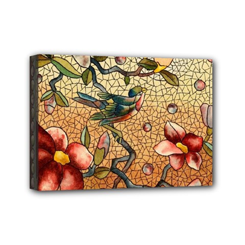 Flower Cubism Mosaic Vintage Mini Canvas 7  X 5  (stretched)
