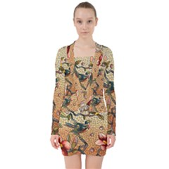 Flower Cubism Mosaic Vintage V Neck Bodycon Long Sleeve Dress