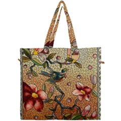 Flower Cubism Mosaic Vintage Canvas Travel Bag by Pakrebo