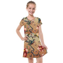 Flower Cubism Mosaic Vintage Kids  Cross Web Dress by Pakrebo