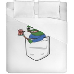 Apu Apustaja Roasting A Snail On A Campfire Pepe The Frog Pocket Tee Kekistan Duvet Cover (california King Size) by snek