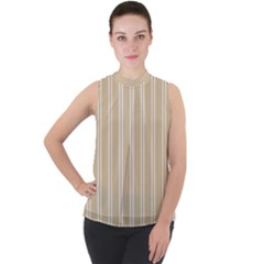 Nice Stripes  Mock Neck Chiffon Sleeveless Top by TimelessFashion