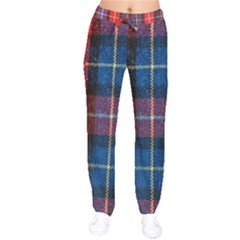 Blue & Red Plaid Velvet Drawstring Pants by WensdaiAddamns
