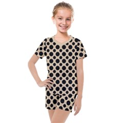 Polka Dots  Kids  Mesh Tee And Shorts Set by TimelessFashion