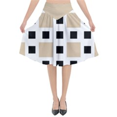 Squares On A Mission Flared Midi Skirt