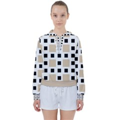 Squares On A Mission Women s Tie Up Sweat by TimelessFashion