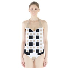Squares On A Mission Halter Swimsuit by TimelessFashion