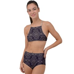 Timeless In Black And Almond Buff High Waist Tankini Set by TimelessFashion
