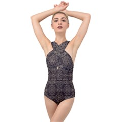 Timeless In Black And Almond Buff Cross Front Low Back Swimsuit