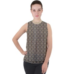 Triangle Party  Mock Neck Chiffon Sleeveless Top by TimelessFashion