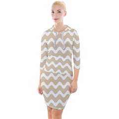 Waves  Quarter Sleeve Hood Bodycon Dress by TimelessFashion