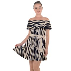 Zebra Style  Off Shoulder Velour Dress by TimelessFashion