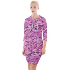 Pink Camouflage Army Military Girl Quarter Sleeve Hood Bodycon Dress by snek