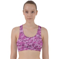 Pink Camouflage Army Military Girl Back Weave Sports Bra by snek