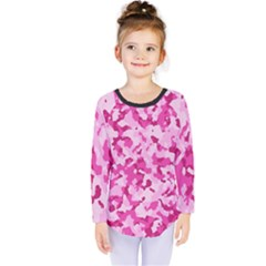 Standard Pink Camouflage Army Military Girl Funny Pattern Kids  Long Sleeve Tee