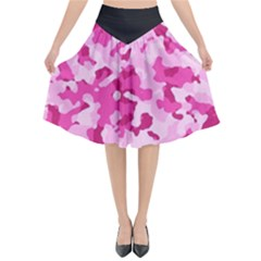 Standard Pink Camouflage Army Military Girl Funny Pattern Flared Midi Skirt by snek
