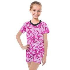 Standard Pink Camouflage Army Military Girl Funny Pattern Kids  Mesh Tee And Shorts Set by snek