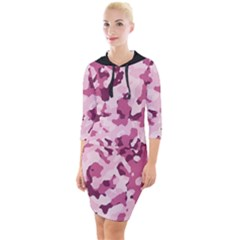Standard Violet Pink Camouflage Army Military Girl Quarter Sleeve Hood Bodycon Dress by snek
